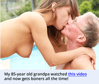 an image of a young girl kissing an older man